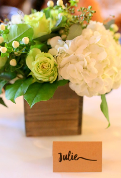 Flowers with Burlap Looking Name Plate
