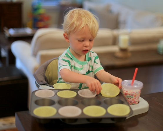 making muffins with toddler