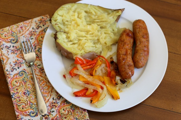 chicken sausage sweet potatoes onion peppers