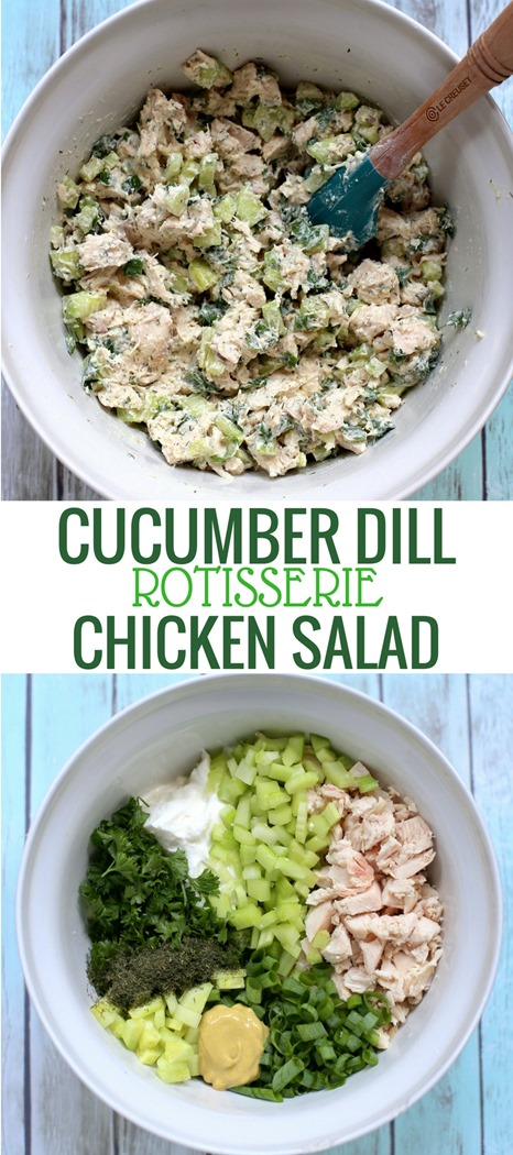 Cucumber Dill Rotisserie Chicken Salad made with Greek Yogurt