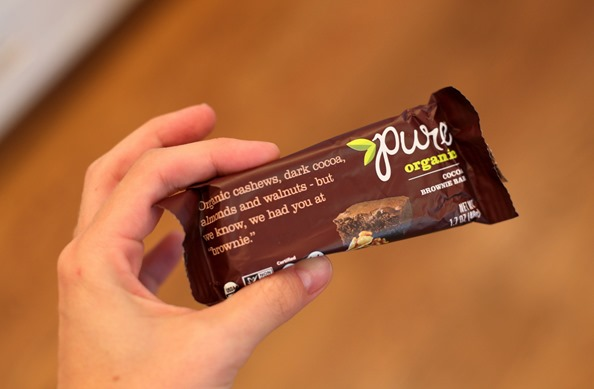 pure organics brownie bar