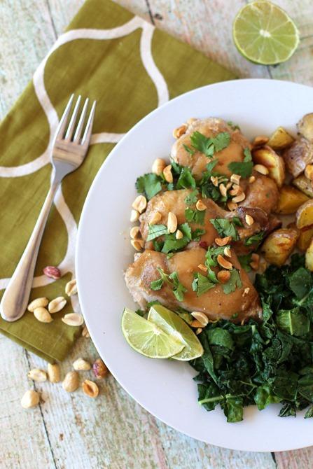 Baked Thai Peanut Chicken Thighs