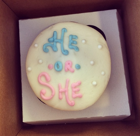 He or She Gender Reveal Cupcake