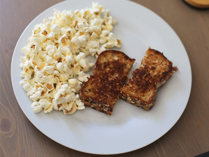 grilled cheese and popcorn