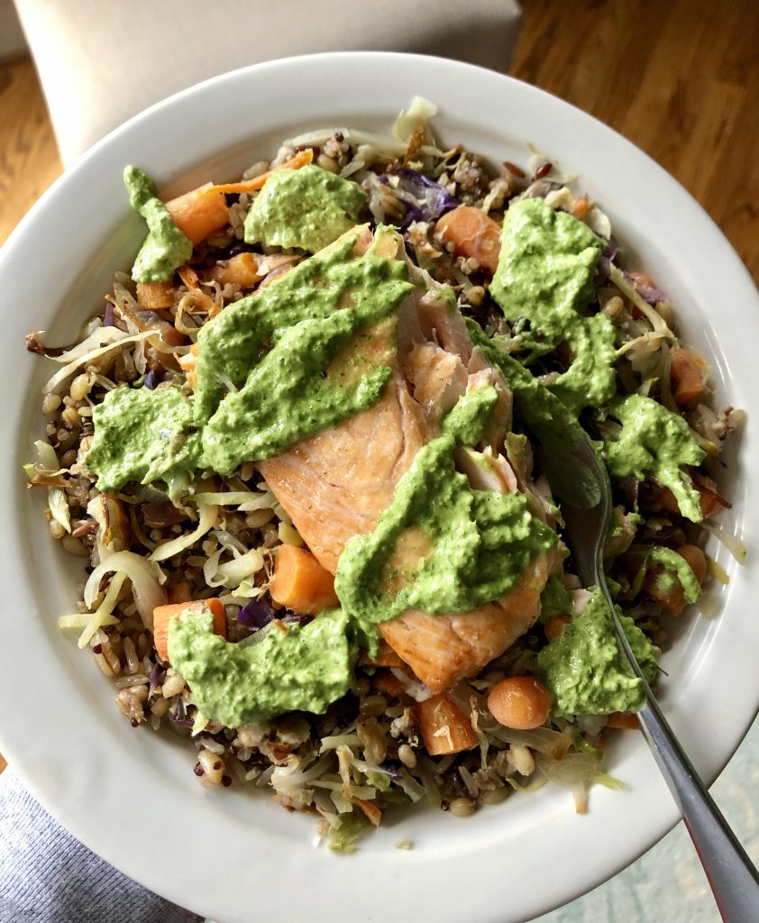 Salmon with Green Tahini Sauce