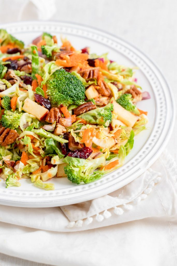 Chopped Broccoli and Brussels Sprouts Salad
