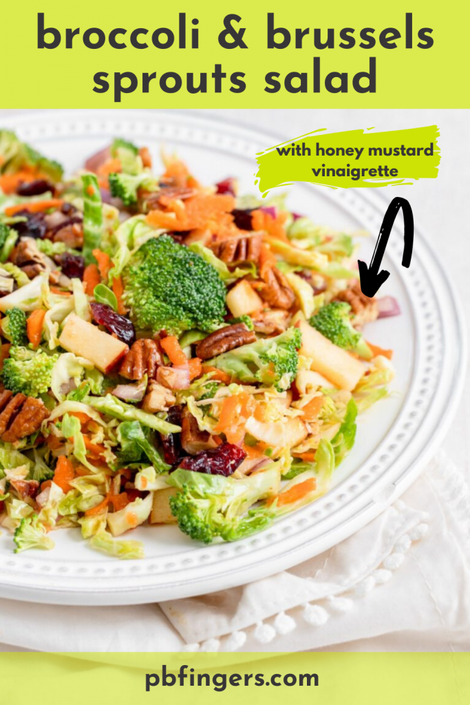 Chopped Broccoli and Brussels Sprouts Salad with Honey Mustard Vinaigrette